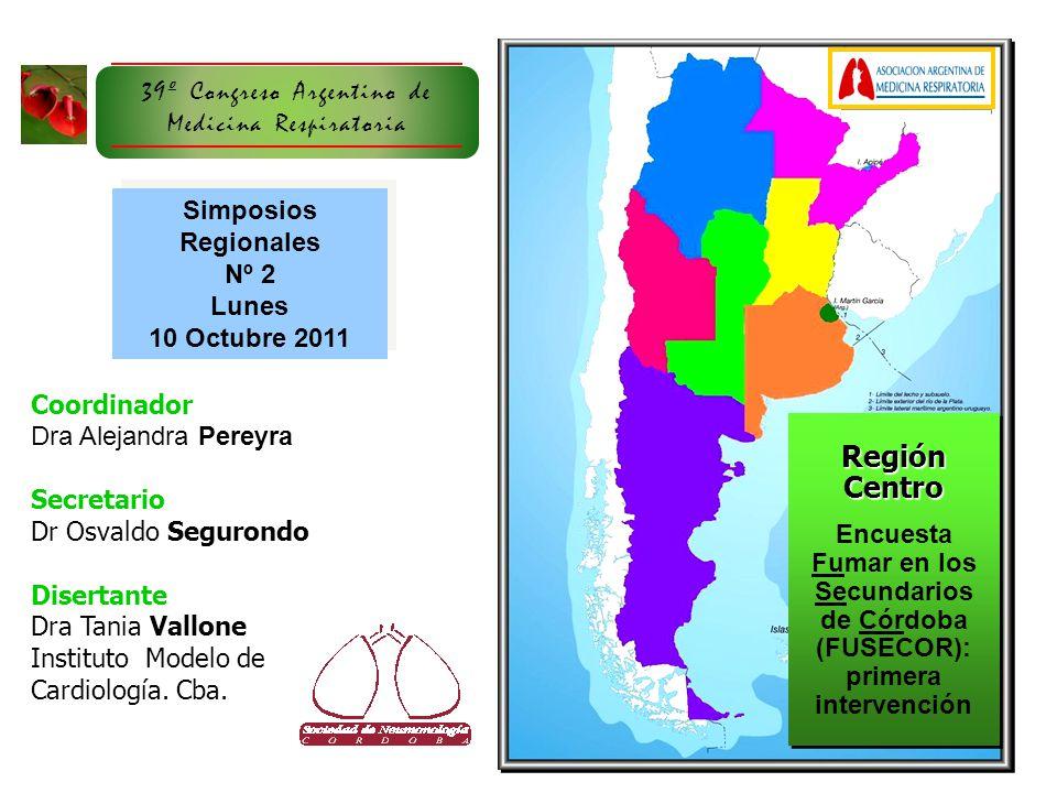 Coordinador Dra Alejandra Pereyra Secretario Dr Osvaldo Segurondo Disertante Dra Tania Vallone Instituto Modelo de Cardiología. Cba. Región Centro Enc