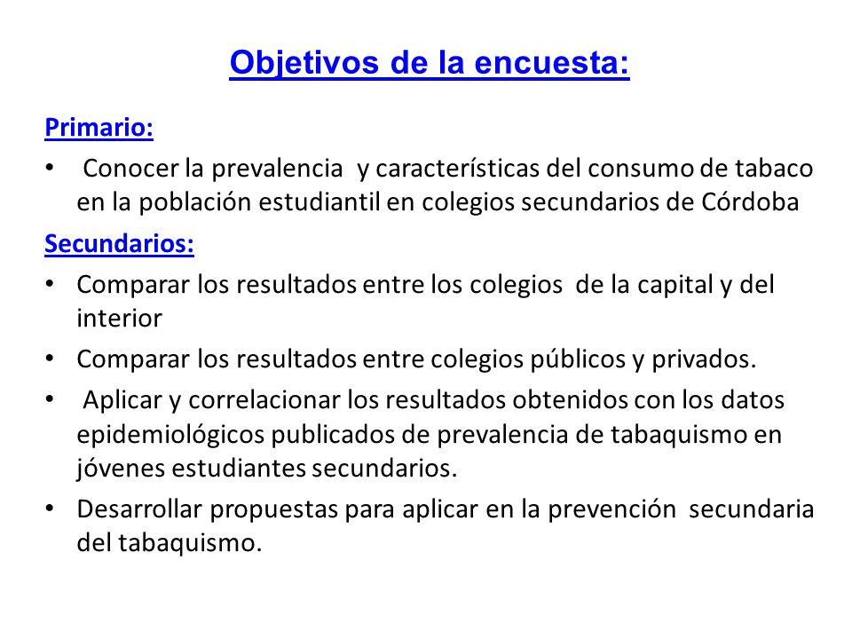 Primario: Conocer la prevalencia y características del consumo de tabaco en la población estudiantil en colegios secundarios de Córdoba Secundarios: C