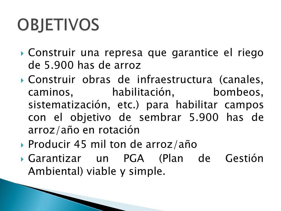 Ubicado sobre la Ruta Provincial 126 (pavimentada) Óptimos indicadores hidrológicos (cuenca de aporte, vol.
