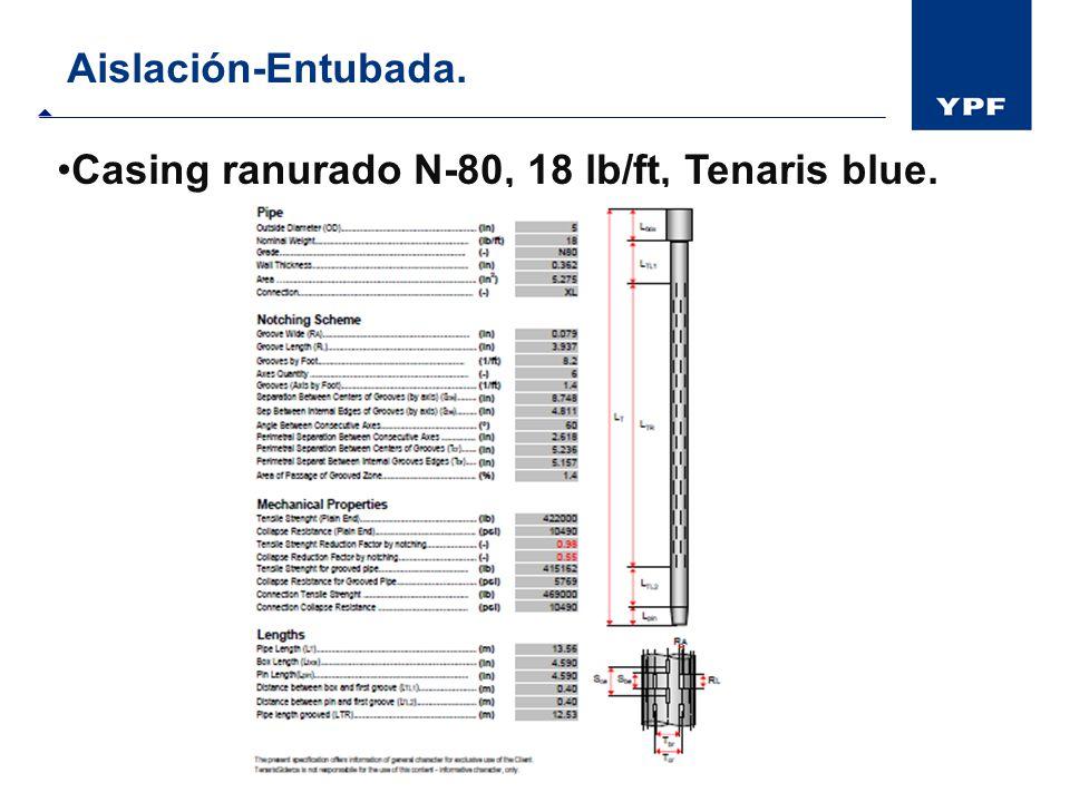 Aislación-Entubada. Casing ranurado N-80, 18 lb/ft, Tenaris blue.