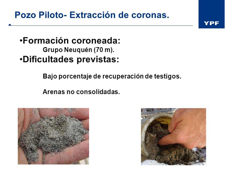 Pozo Piloto- Extracción de coronas. Formación coroneada: Grupo Neuquén (70 m). Dificultades previstas: Bajo porcentaje de recuperación de testigos. Ar