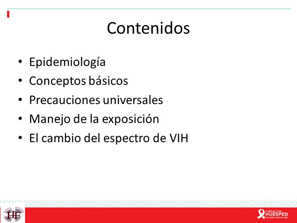 Contenidos Epidemiología Conceptos básicos Precauciones universales Manejo de la exposición El cambio del espectro de VIH
