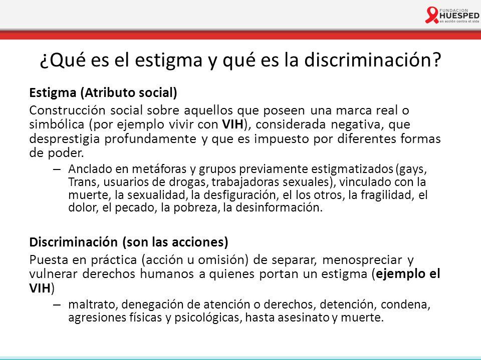 ¿Qué es el estigma y qué es la discriminación? Estigma (Atributo social) Construcción social sobre aquellos que poseen una marca real o simbólica (por