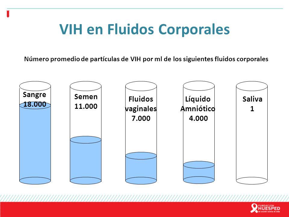 VIH en Fluidos Corporales Semen 11.000 Fluidos vaginales 7.000 Sangre 18.000 Líquido Amniótico 4.000 Saliva 1 Número promedio de partículas de VIH por