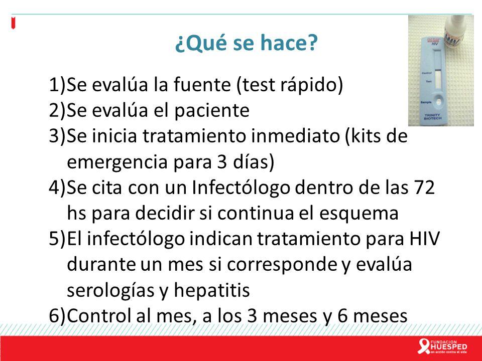 ¿Qué se hace? 1)Se evalúa la fuente (test rápido) 2)Se evalúa el paciente 3)Se inicia tratamiento inmediato (kits de emergencia para 3 días) 4)Se cita