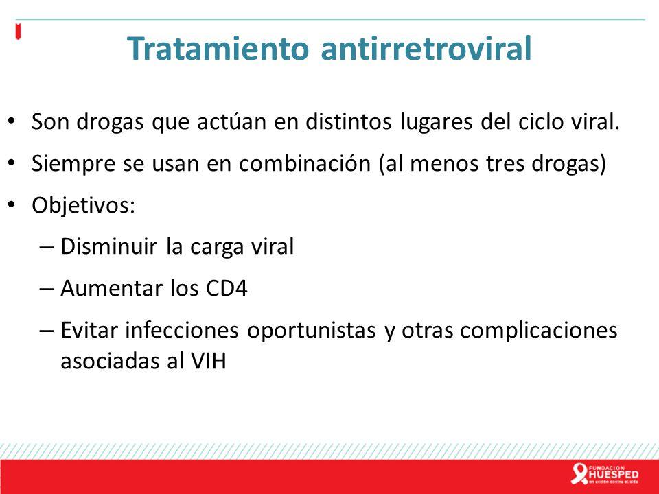 Tratamiento antirretroviral Son drogas que actúan en distintos lugares del ciclo viral. Siempre se usan en combinación (al menos tres drogas) Objetivo