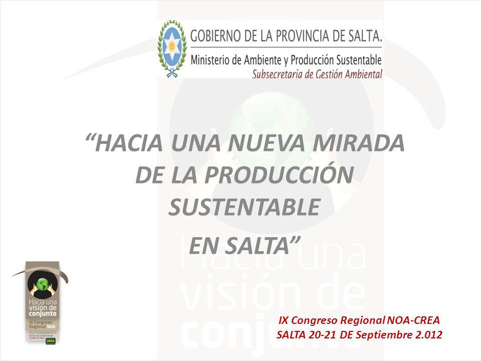 HACIA UNA NUEVA MIRADA DE LA PRODUCCIÓN SUSTENTABLE EN SALTA IX Congreso Regional NOA-CREA SALTA 20-21 DE Septiembre 2.012