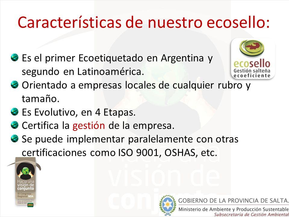 Características de nuestro ecosello: Es el primer Ecoetiquetado en Argentina y segundo en Latinoamérica. Orientado a empresas locales de cualquier rub