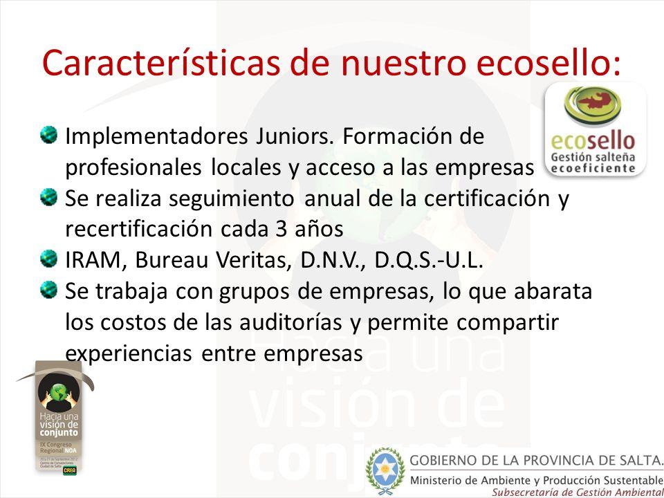 ECOSELLO GESTIÓN SALTEÑA ECOEFICIENTE M A y P SIRAM desarrollaron Estándares de certificación Norma ISO 14000 Requisitos para la confección de Informes de Responsabilidad Social Corporativa Guía IRAM 009-V.2 Requisitos de certificación para la distinción GSE contiene Empresas Prestadoras de Servicios Productoras de bienes Etapa Compromiso Etapa Aptitud Etapa Responsabilidad Etapa Eficiencia se implementa aplicable en GRI