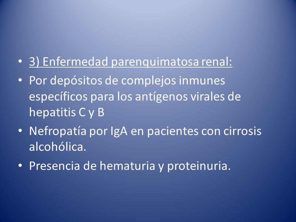 3) Enfermedad parenquimatosa renal: Por depósitos de complejos inmunes específicos para los antígenos virales de hepatitis C y B Nefropatía por IgA en pacientes con cirrosis alcohólica.