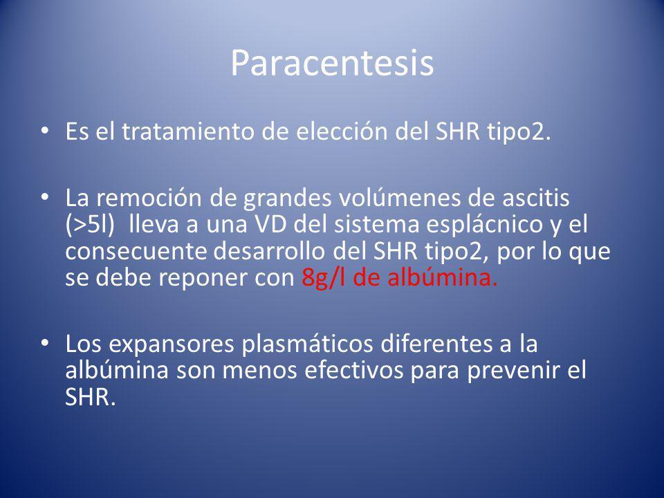 Paracentesis Es el tratamiento de elección del SHR tipo2.
