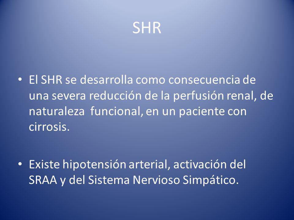 SHR El SHR se desarrolla como consecuencia de una severa reducción de la perfusión renal, de naturaleza funcional, en un paciente con cirrosis.