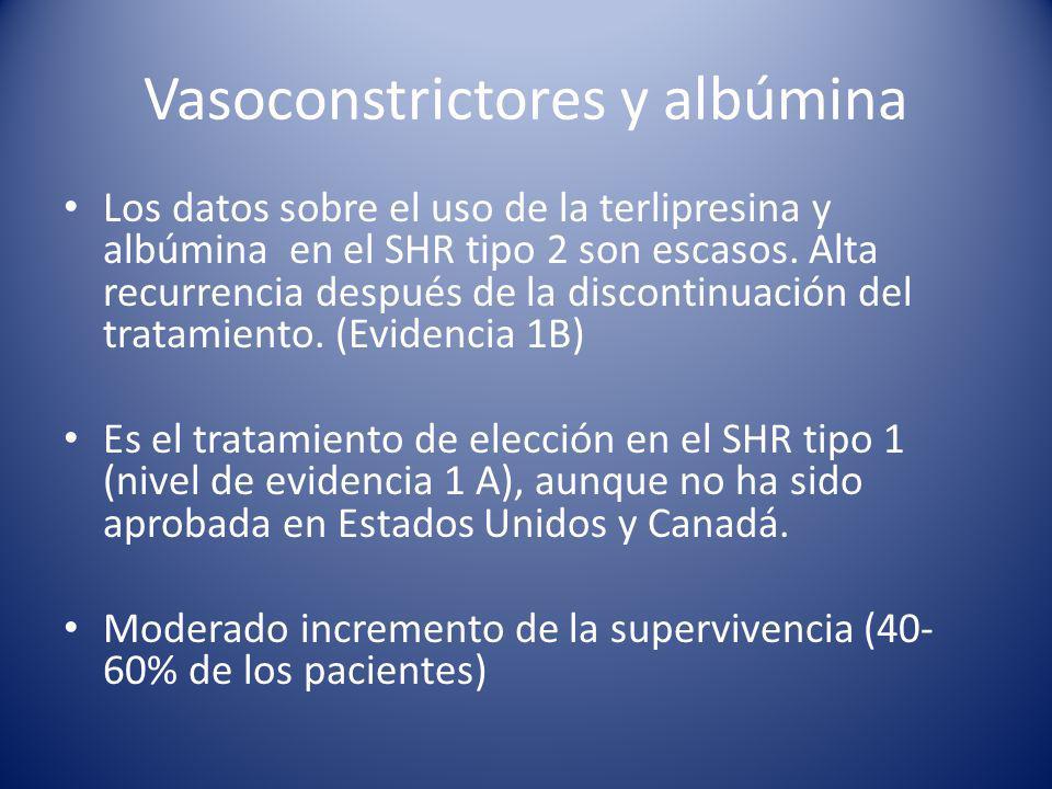 Vasoconstrictores y albúmina Los datos sobre el uso de la terlipresina y albúmina en el SHR tipo 2 son escasos.