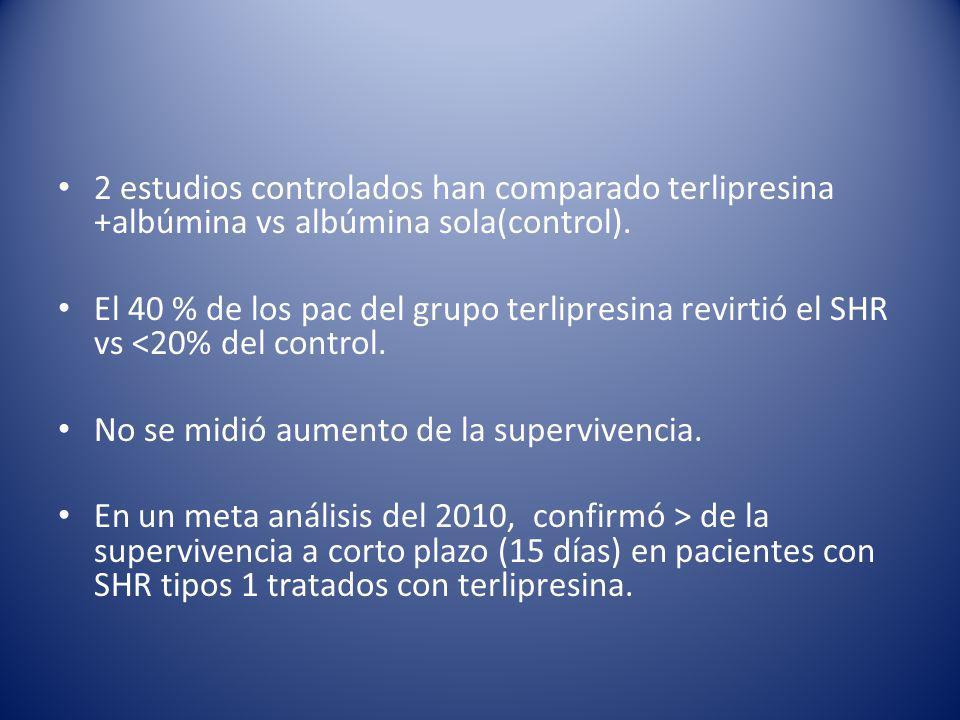 2 estudios controlados han comparado terlipresina +albúmina vs albúmina sola(control).
