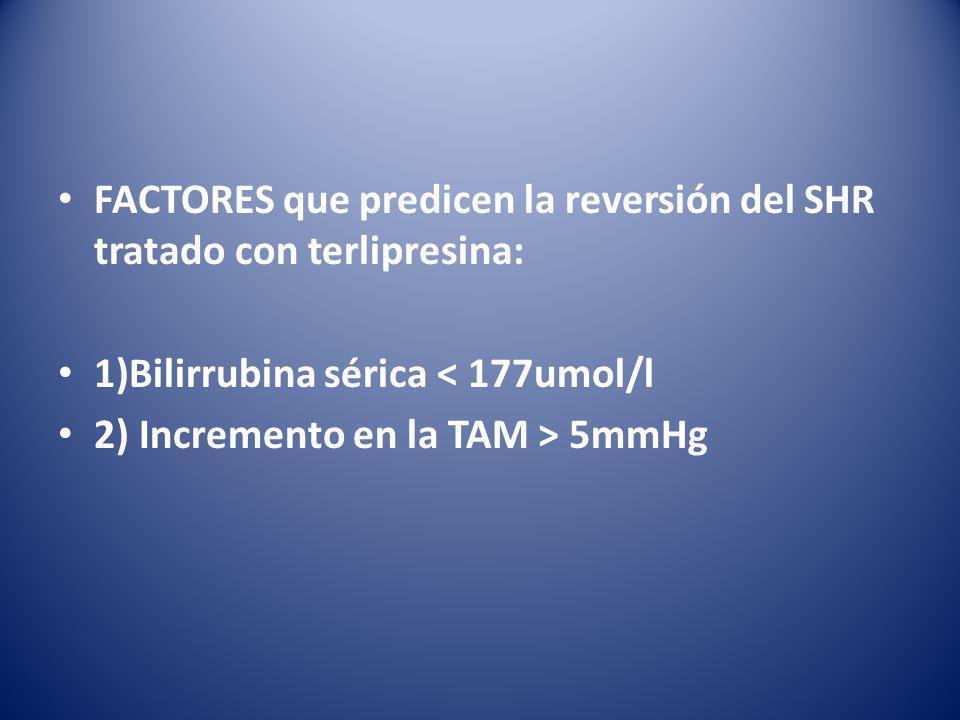 FACTORES que predicen la reversión del SHR tratado con terlipresina: 1)Bilirrubina sérica < 177umol/l 2) Incremento en la TAM > 5mmHg