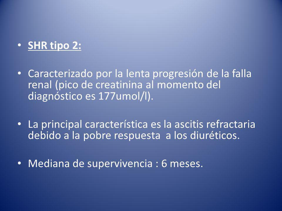 SHR tipo 2: Caracterizado por la lenta progresión de la falla renal (pico de creatinina al momento del diagnóstico es 177umol/l).