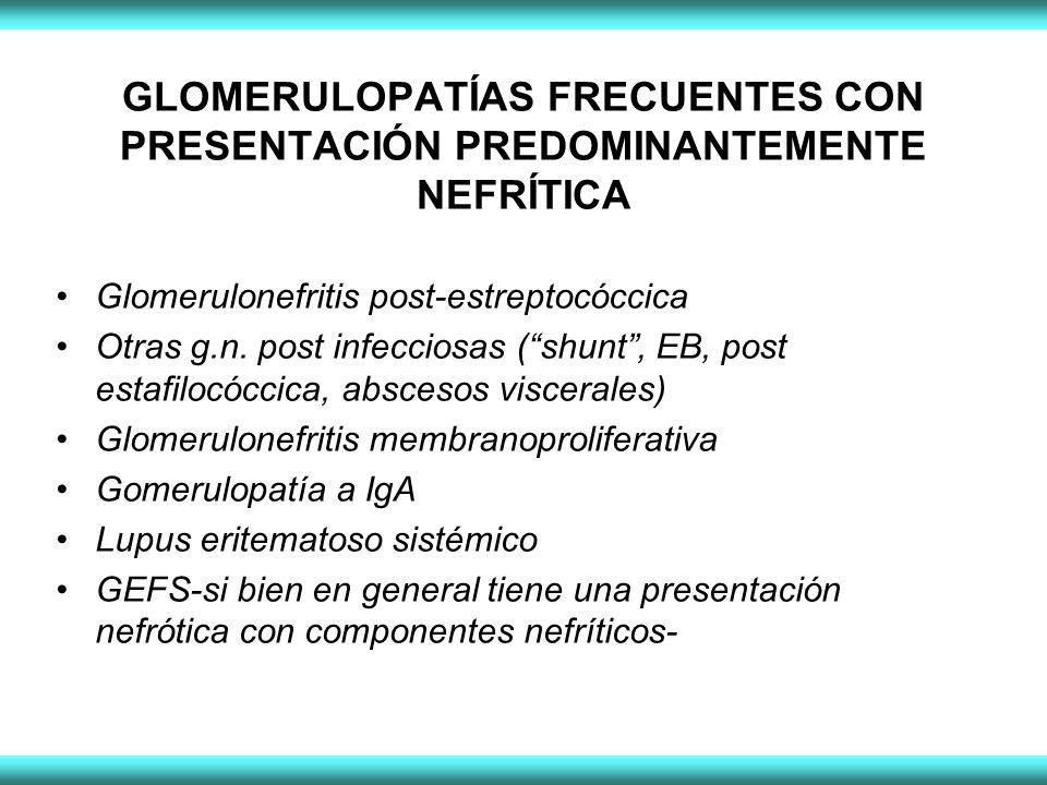 GLOMERULOPATÍAS FRECUENTES CON PRESENTACIÓN PREDOMINANTEMENTE NEFRÍTICA Glomerulonefritis post-estreptocóccica Otras g.n.
