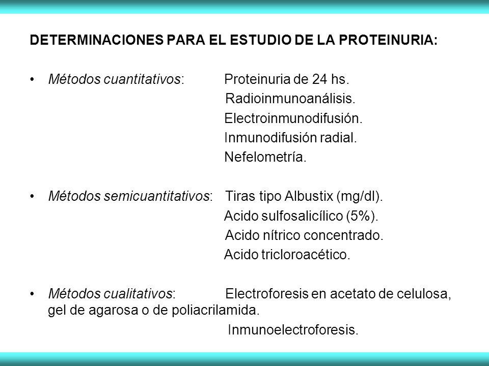 DETERMINACIONES PARA EL ESTUDIO DE LA PROTEINURIA: Métodos cuantitativos: Proteinuria de 24 hs. Radioinmunoanálisis. Electroinmunodifusión. Inmunodifu