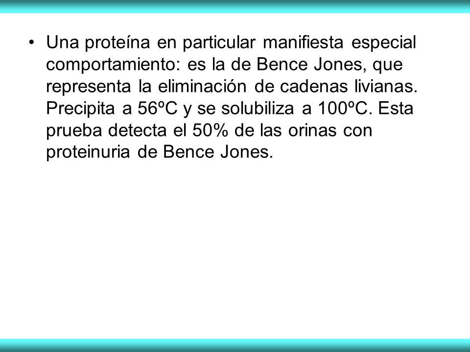 Una proteína en particular manifiesta especial comportamiento: es la de Bence Jones, que representa la eliminación de cadenas livianas. Precipita a 56
