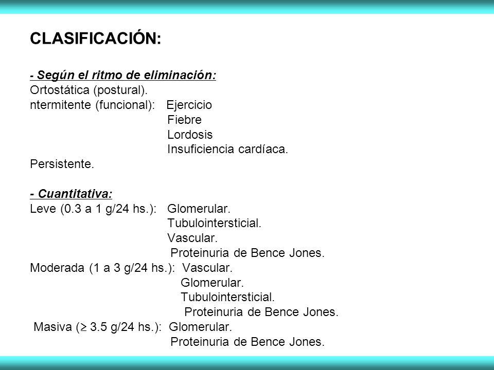 CLASIFICACIÓN: - Según el ritmo de eliminación: Ortostática (postural). ntermitente (funcional): Ejercicio Fiebre Lordosis Insuficiencia cardíaca. Per