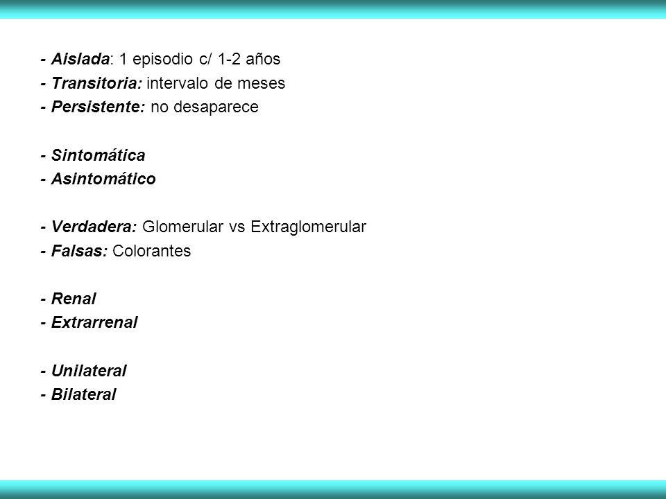 - Aislada: 1 episodio c/ 1-2 años - Transitoria: intervalo de meses - Persistente: no desaparece - Sintomática - Asintomático - Verdadera: Glomerular vs Extraglomerular - Falsas: Colorantes - Renal - Extrarrenal - Unilateral - Bilateral