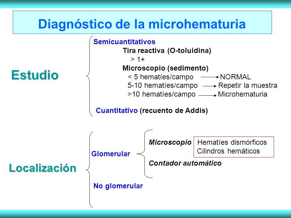 Estudio Semicuantitativos Tira reactiva (O-toluidina) > 1+ Microscopio (sedimento) < 5 hematíes/campo NORMAL 5-10 hematíes/campo Repetir la muestra >10 hematíes/campo Microhematuria Cuantitativo (recuento de Addis) Localización Glomerular Microscopio Hematíes dismórficos Cilindros hemáticos Contador automático No glomerular Diagnóstico de la microhematuria