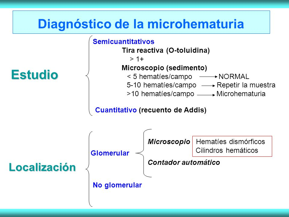 Estudio Semicuantitativos Tira reactiva (O-toluidina) > 1+ Microscopio (sedimento) < 5 hematíes/campo NORMAL 5-10 hematíes/campo Repetir la muestra >1