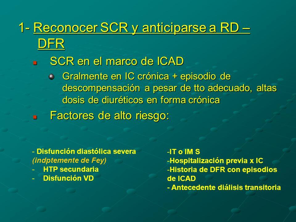 1- Reconocer SCR y anticiparse a RD – DFR SCR en el marco de ICAD SCR en el marco de ICAD Gralmente en IC crónica + episodio de descompensación a pesar de tto adecuado, altas dosis de diuréticos en forma crónica Factores de alto riesgo: Factores de alto riesgo: - Disfunción diastólica severa (indptemente de Fey) -HTP secundaria -Disfunción VD -IT o IM S -Hospitalización previa x IC -Historia de DFR con episodios de ICAD - Antecedente diálisis transitoria