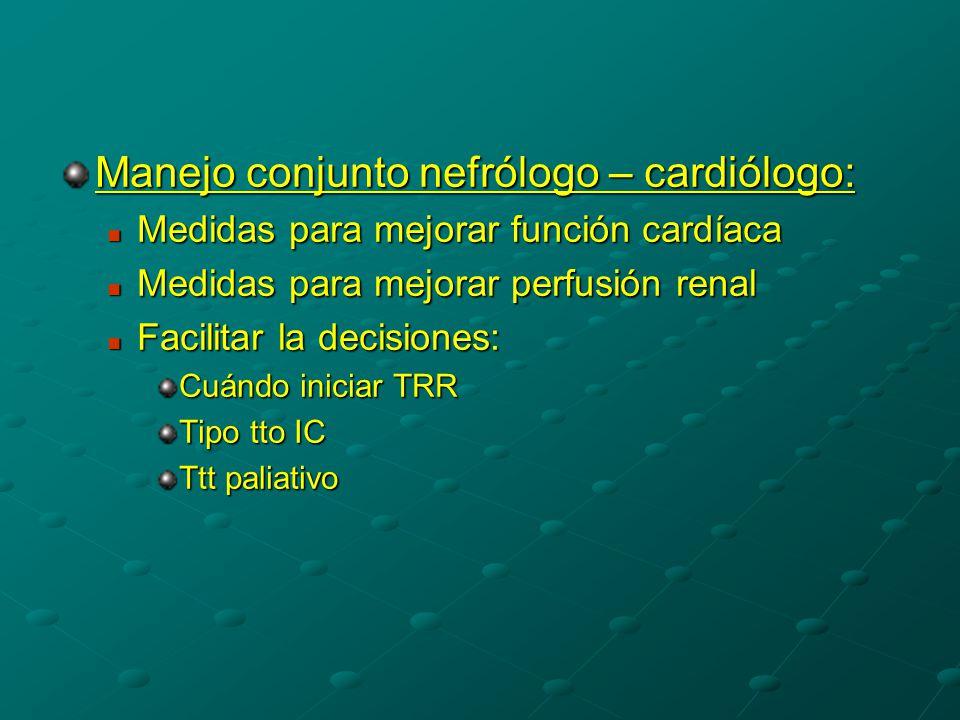 Manejo conjunto nefrólogo – cardiólogo: Medidas para mejorar función cardíaca Medidas para mejorar función cardíaca Medidas para mejorar perfusión renal Medidas para mejorar perfusión renal Facilitar la decisiones: Facilitar la decisiones: Cuándo iniciar TRR Tipo tto IC Ttt paliativo