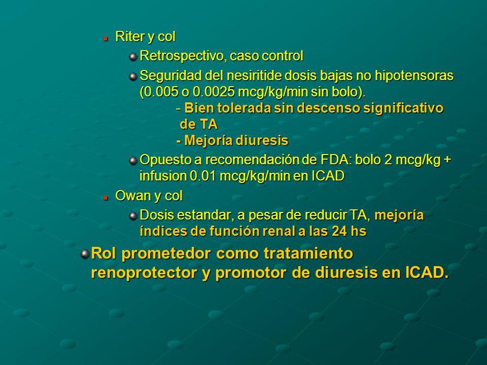 Riter y col Riter y col Retrospectivo, caso control Seguridad del nesiritide dosis bajas no hipotensoras (0.005 o 0.0025 mcg/kg/min sin bolo).