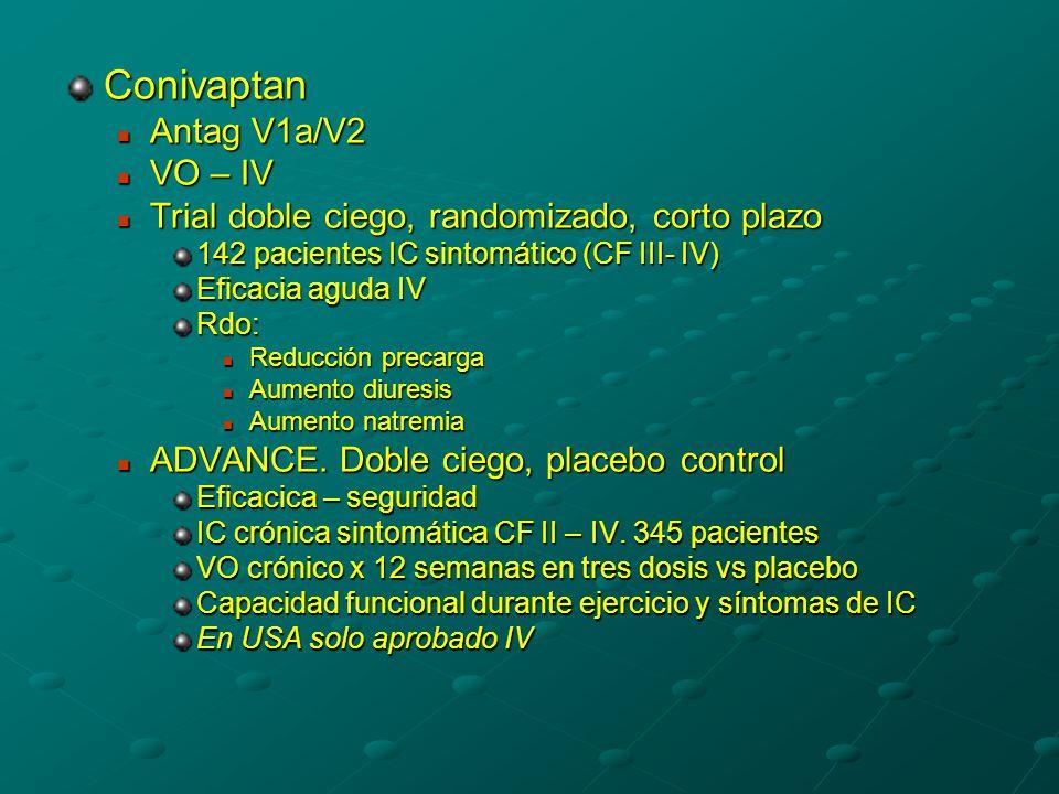 Conivaptan Antag V1a/V2 Antag V1a/V2 VO – IV VO – IV Trial doble ciego, randomizado, corto plazo Trial doble ciego, randomizado, corto plazo 142 pacientes IC sintomático (CF III- IV) Eficacia aguda IV Rdo: Reducción precarga Reducción precarga Aumento diuresis Aumento diuresis Aumento natremia Aumento natremia ADVANCE.