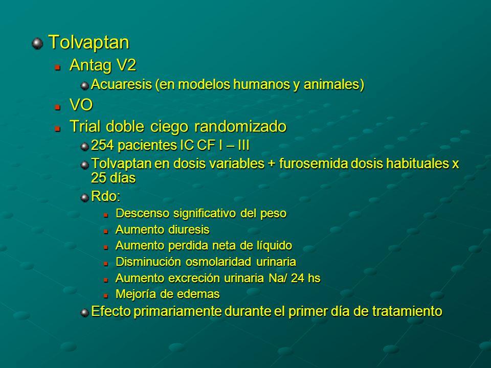 Tolvaptan Antag V2 Antag V2 Acuaresis (en modelos humanos y animales) VO VO Trial doble ciego randomizado Trial doble ciego randomizado 254 pacientes IC CF I – III Tolvaptan en dosis variables + furosemida dosis habituales x 25 días Rdo: Descenso significativo del peso Descenso significativo del peso Aumento diuresis Aumento diuresis Aumento perdida neta de líquido Aumento perdida neta de líquido Disminución osmolaridad urinaria Disminución osmolaridad urinaria Aumento excreción urinaria Na/ 24 hs Aumento excreción urinaria Na/ 24 hs Mejoría de edemas Mejoría de edemas Efecto primariamente durante el primer día de tratamiento