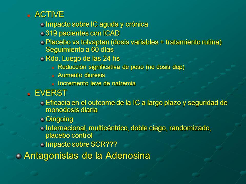 ACTIVE ACTIVE Impacto sobre IC aguda y crónica 319 pacientes con ICAD Placebo vs tolvaptan (dosis variables + tratamiento rutina) Seguimiento a 60 días Rdo.