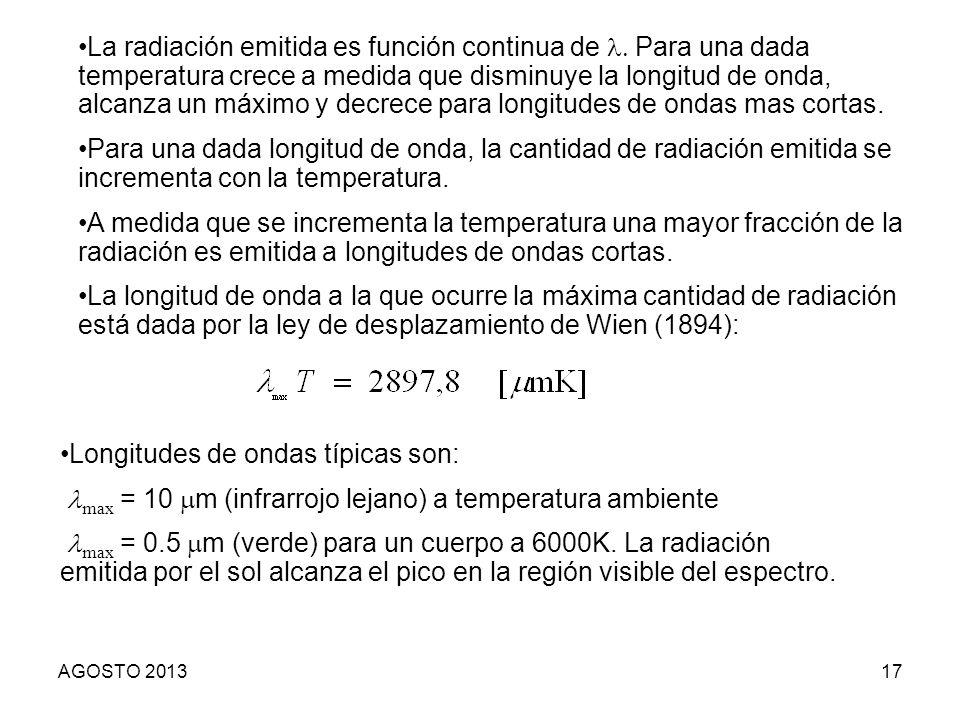 17 Longitudes de ondas típicas son: max = 10 m (infrarrojo lejano) a temperatura ambiente max = 0.5 m (verde) para un cuerpo a 6000K. La radiación emi