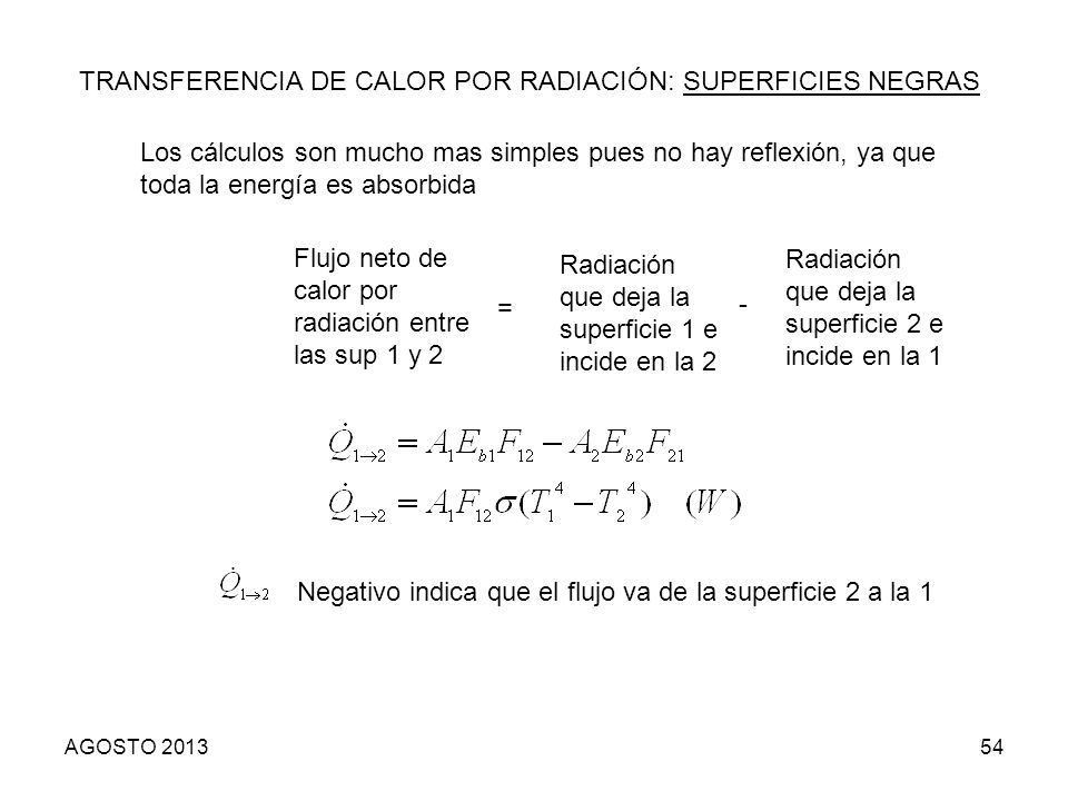 54 TRANSFERENCIA DE CALOR POR RADIACIÓN: SUPERFICIES NEGRAS Los cálculos son mucho mas simples pues no hay reflexión, ya que toda la energía es absorb