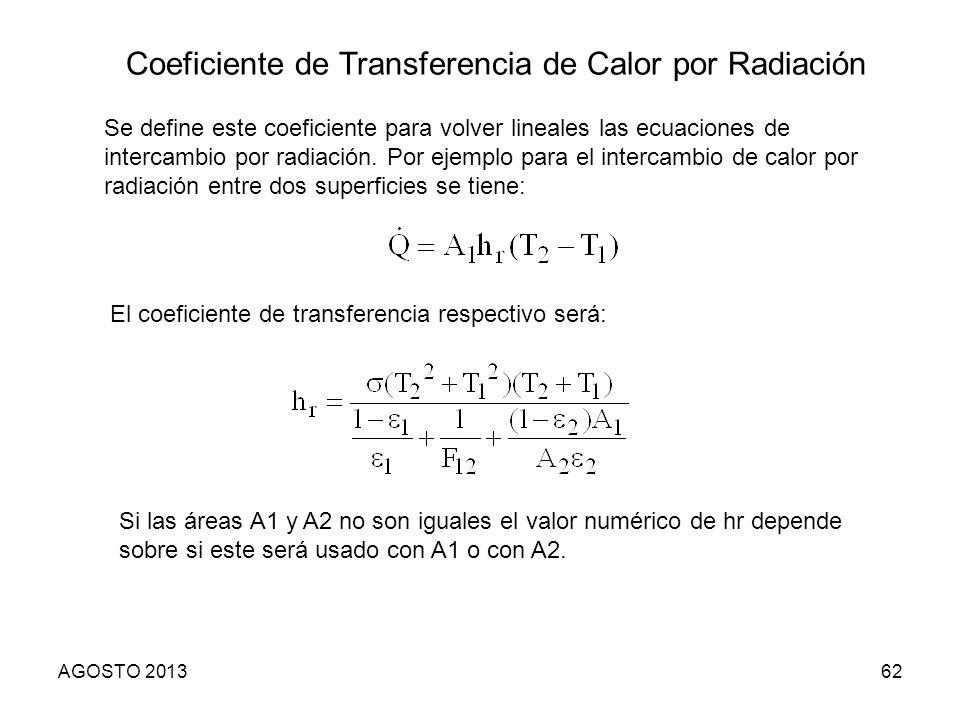 AGOSTO 201362 Coeficiente de Transferencia de Calor por Radiación Se define este coeficiente para volver lineales las ecuaciones de intercambio por ra