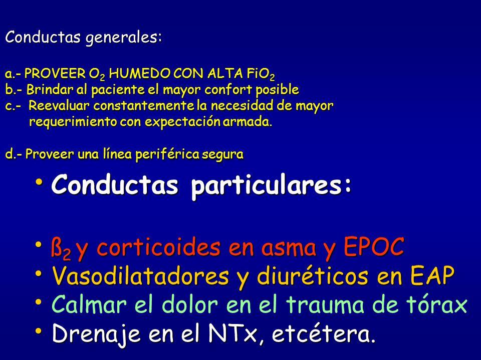 CONDUCTAS EN PREHOSPITALARIO ANTE UN CUADRO DE DIFICULTAD RESPIRATORIA * Respetar el ABC a-Manejo de la vía aérea b-Control de la ventilación c-algori