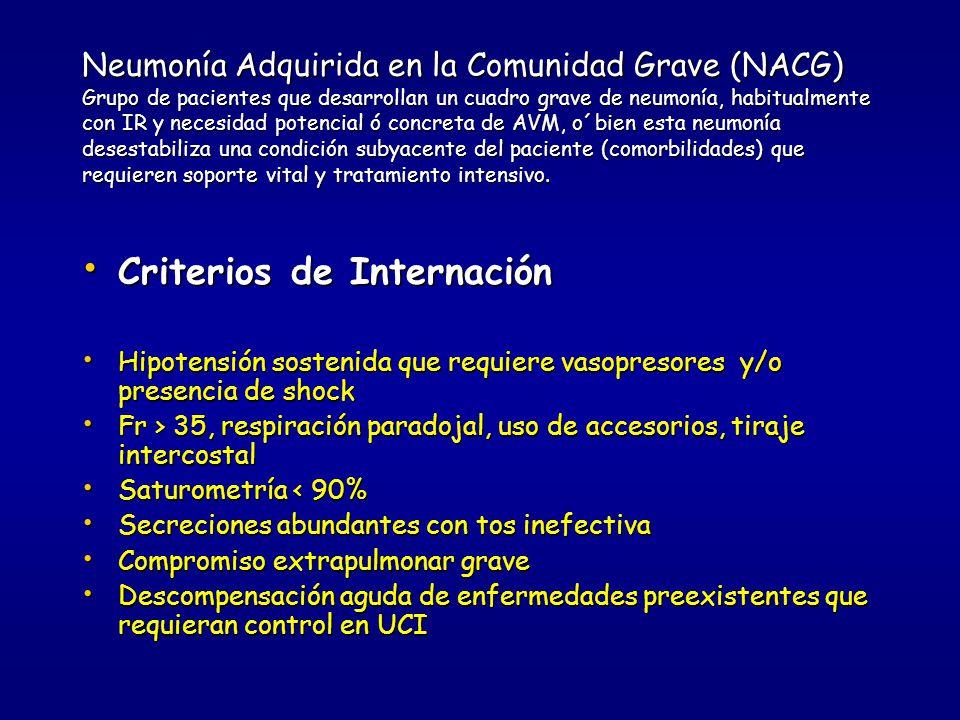 Neumonía Adquirida en la Comunidad(NAC) a.- > de 65 años b.- Enfermedades asociadas que empeoran con la NAC: 1-EPOC2-ICC3-IRC c.- Antecedentes: 1- Alcoholismo 2- Neoplasias 3-Alteraciones del sensorio 4-Inmunocompromiso5-Esplenectomía 6- Tratamiento con inmunosupresores d.- Examen Físico 1-Fr > 30 x ´, Ta 30 x ´, Ta < 90/ <60, Tº <36º, ausencia de dolor pleurítico y/o escalofríos e.- Saturometría < 90%