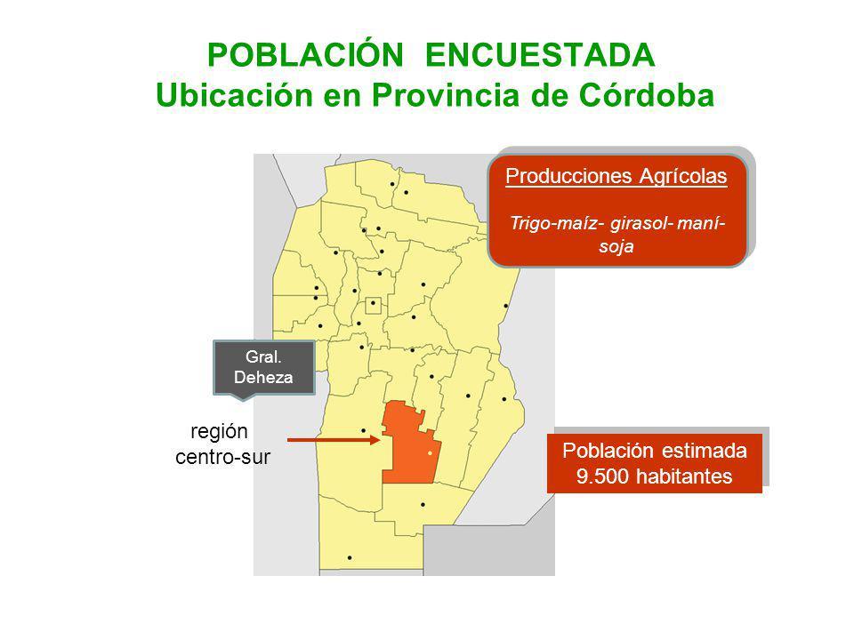 POBLACIÓN ENCUESTADA Ubicación en Provincia de Córdoba Gral.