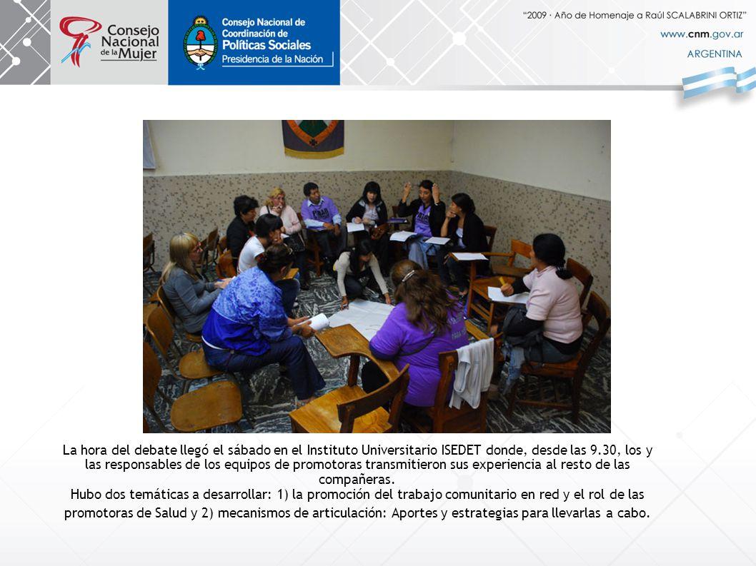 La hora del debate llegó el sábado en el Instituto Universitario ISEDET donde, desde las 9.30, los y las responsables de los equipos de promotoras transmitieron sus experiencia al resto de las compañeras.