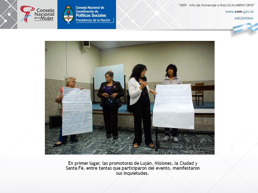 En primer lugar, las promotoras de Luján, Misiones, la Ciudad y Santa Fé, entre tantas que participaron del evento, manifestaron sus inquietudes.