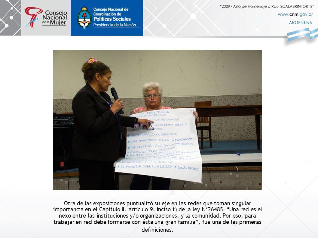 Otra de las exposiciones puntualizó su eje en las redes que toman singular importancia en el Capitulo II, artículo 9, inciso t) de la ley N°26485.