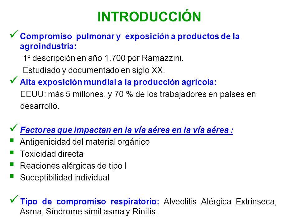 INTRODUCCIÓN Compromiso pulmonar y exposición a productos de la agroindustria: 1º descripción en año 1.700 por Ramazzini. Estudiado y documentado en s