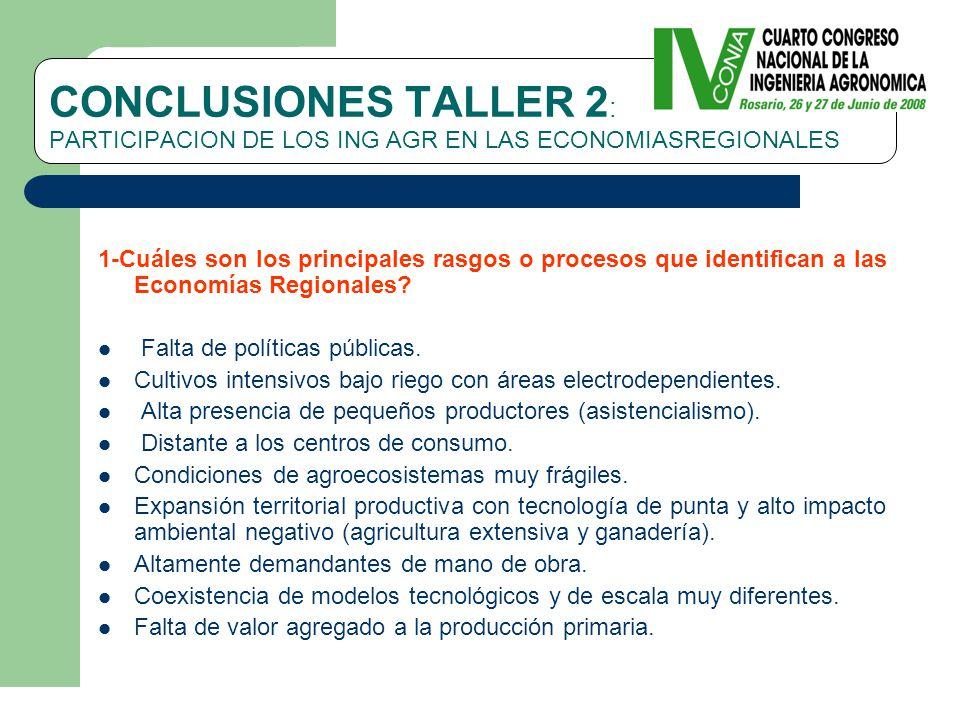 CONCLUSIONES TALLER 2 : PARTICIPACION DE LOS ING AGR EN LAS ECONOMIASREGIONALES 1-Cuáles son los principales rasgos o procesos que identifican a las Economías Regionales.