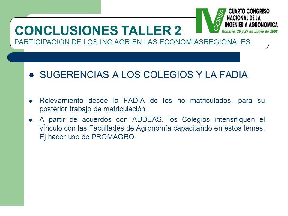 SUGERENCIAS A LOS COLEGIOS Y LA FADIA Relevamiento desde la FADIA de los no matriculados, para su posterior trabajo de matriculación.