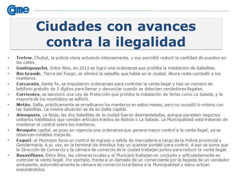 Ciudades con avances contra la ilegalidad Trelew, Chubut, la policía viene actuando intensamente, y eso permitió reducir la cantidad de puestos en las calles.