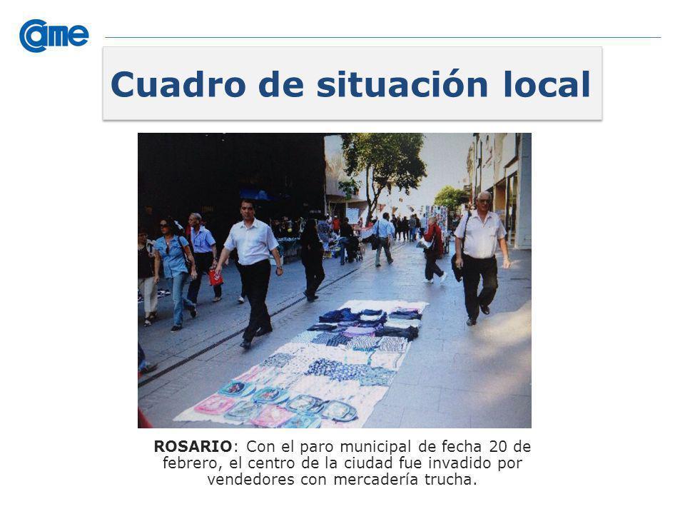 ROSARIO: Con el paro municipal de fecha 20 de febrero, el centro de la ciudad fue invadido por vendedores con mercadería trucha. Cuadro de situación l