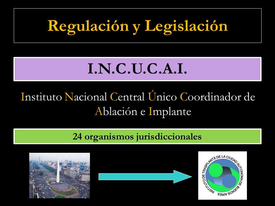 Regulación y Legislación Instituto Nacional Central Único Coordinador de Ablación e Implante I.N.C.U.C.A.I. 24 organismos jurisdiccionales