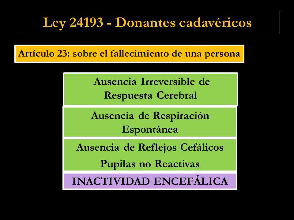 Artículo 23: sobre el fallecimiento de una persona Ausencia de Respiración Espontánea Ausencia de Reflejos Cefálicos Pupilas no Reactivas Ausencia de