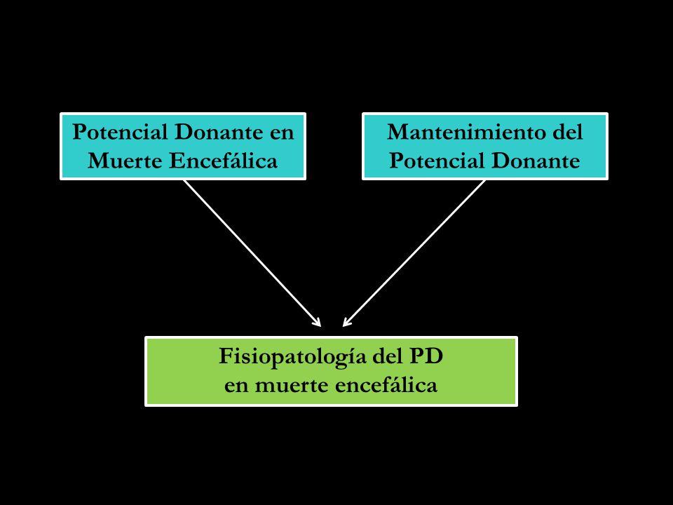 Potencial Donante en Muerte Encefálica Mantenimiento del Potencial Donante Fisiopatología del PD en muerte encefálica